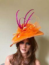 Orange Pink Fascinator Hat- Kentucky Derby-Races- feathers  headband