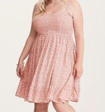 Torrid Floral Tile Print Smocked Bodice Challis Dress Pink Sz: 1 14 16 1X #56163