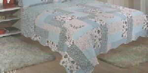 DOUBLE SIZE ELYSE BLUE FLORAL CHECK PATCHWORK DESIGN BEDSPREAD ONLY