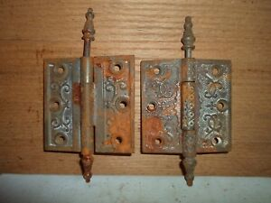 antique cast iron steeple hinges, Eastlake  / Victorian period # 8