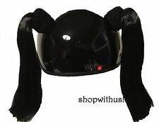 Custom Made Black or Blonde Helmet Pigtails ~Motorcycle Skate Bike 25% More Hair