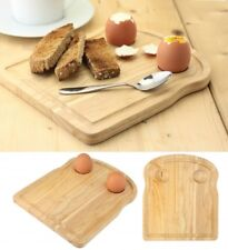 Rubberwood Breakfast Board Toast Shape Serving Tray with Egg Holders Cups New