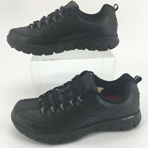 Skechers Relaxed Fit Memory Foam Slip Resistant Oxford Work Shoes Black Leather