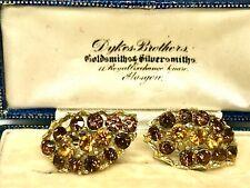 Lovely Crystal Diamanté' GP Topaz & Brown Clip Earrings