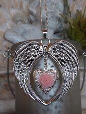 Flügel Halskette mit Foto Medaillon Doppelflügel Schutzengel Kette Silber