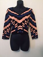 GB Crop Knit Sweater Multicolor Black Pink Blue Juniors Womens Size L