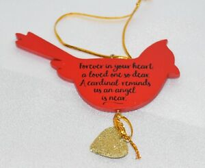 """Cardinal Ornament """"Forever in your Heart"""" Rear View Window Charm"""