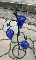 Cobalt Blue Glass Conical Tealight Holder (3) Tiered Metal Stand Functional Gem