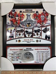 Chicago Blackhawks 2013 Stanley Cup Champs 12x15 Plaque w/ Game Used Ice