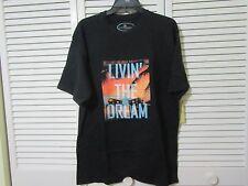 "Island Republic T shirt Men,M,"" Living the Dream"" graphic, black,SS"
