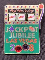 Red Hat Society Jackpot Jubilee Las Vegas Lapel Pin 2008 Rhinestones Enamel