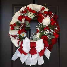 "27"" Wonderful Unique Handmade Red White Wreath - Sharon GREAT GIFT"