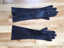 Vintage Long Dark Brown Leather Gloves Size 7 - Made in Italy