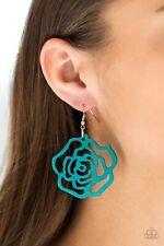 NWT Paparazzi Jewelry Wood Earrings Blue Island Rose New Release Hot 🔥 ❤️🔥