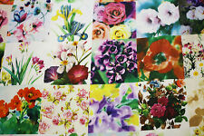 Fabric Floral Real Life Flowers Cotton Sateen HALF METREx112cm Quilting Material