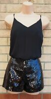 H&M BLACK STRAPPY SLEEVELESS SEQUIN BEADED SHORT PARTY PLAYSUIT ROMPER 6 XS