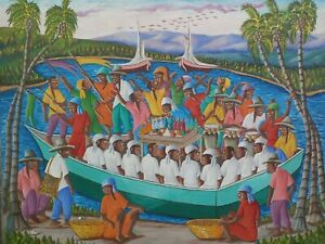 "VINTAGE ORIGINAL HAITIAN ART PAINTING DIEUDONNE ROUANEZ ""RELIGIOUS SCENE"" HAITI"