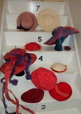 Lot of Nine Vintage 1960's - 1980's Women's Red Hat Society Hats #22