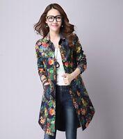 Womens Floral Jackets Chic Print Linen blend Slim Fit Long Sleeve Shirt Dress
