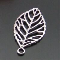 5PCS Retro Silver Zinc Alloy Hollow Tree Leaf Pendants Jewelry Crafts 44*26mm