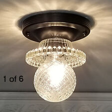469b Vintage 40s Ceiling Light Lamp fixture hobnail hall closet porch