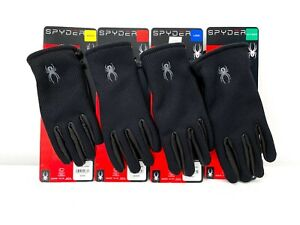 NWT Spyder Black Leather Palm Stretchable Gloves - Size S / M / L / XL - NEW