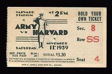 VINTAGE - ARMY vs HARVARD - FOOTBALL TICKET STUB - NOV. 11, 1939 - HARVARD STAD.