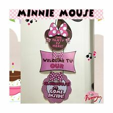 Minnie Mouse Birthday Party Welcome Hanger Door Poster by Alemon Free Shipping