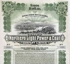 1909 Canada: The Northern Light, Power & Coal Company Limited - $1000 Gold Bond