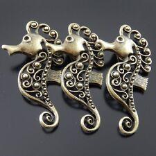Vintage Bronze Alloy Sea Horse Pendant Charms Inner Diameter 1.3mm 15pcs 38628