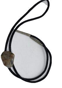 Bolo Tie with Natural Stone Quartz Leather Tie cord Sliver Tips