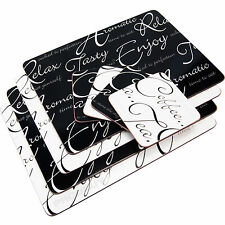 Set of 4 Script Placemats & Coasters Black & White Dinner Table Setting Mats