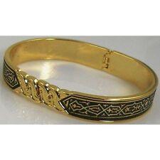 Damascene Gold Cuff Bracelet Geometric by Midas of Toledo Spain style 2091Geo