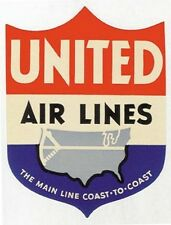 United Airlines   1950's  Vintage Looking Travel Sticker / Luggage Label