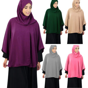 Muslim Women One Piece Prayer Khimar Hijab Overhead Burqa Robe Tops Arab Clothes