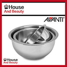 NEW Avanti 3 Piece Deep Stainless Steel Mixing Bowl Set - 18/22/26 cm