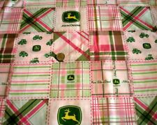 Discontinued John Deere Tractor Logo Madras Pink Green Plaid Cotton Fabric BTY