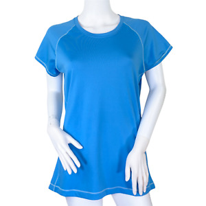 alo Yoga Cool Fit Blue Short Sleeve Women's Active Wicking Shirt Top Size Large