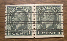 Canada  # 205  -  a Coil Pair from 1933 - 1 cent - Hinge remaining