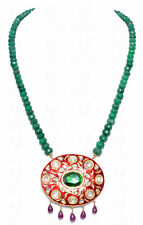 EMERALD & RUBY GEMSTONE BEAD WITH EMERALD STUDDED SILVER PENDANT LN1034