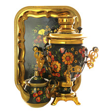 """Russian Electric Samovar  """"Apple pattern on a black background"""" for 110 volts"""