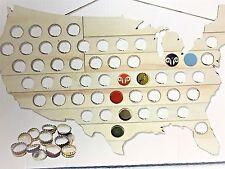 "United States Map Bottle Cap Art Wooden [50] Beer Cap Display 23"" x 14"" * NEW"