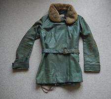 Very Rare 1910s Adastra British Green Leather Mouton Collar Motoring Jacket