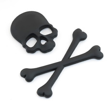 3D Black Skull n Cross Bones Logo Emblem Sticker Decal Real Metal -Not Plastic