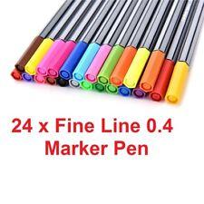 Colour Pen 24 x assorted fine liner pens tip 0.4 smooth fine writing marker pen