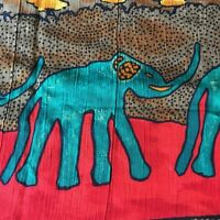 Vintage Fabric Missbrenner Inc Green Elephants Sunflowers Brown Red Patterns