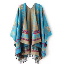 Knitted Cashmere Tibetan Poncho Tribal Gypsy Aztec Tassel Bohemian Cape Jumper