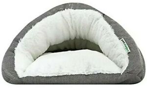 NEW Petshoppe Gray Fur Cozy Burrow Cave Bed For X-small/Small Dogs & Cats