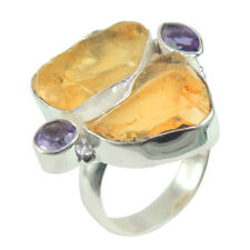 925 STERLING SILVER NATURAL ROUGH CITRINE AMETHYST HANDMADE RING sz 7