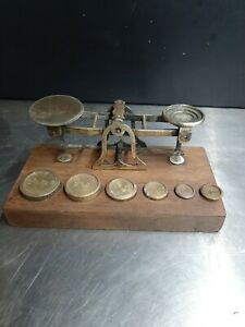 Vintage / Antique Brass Postal Letter Scales With Brass Weights